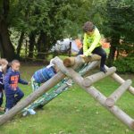 students climbing frame